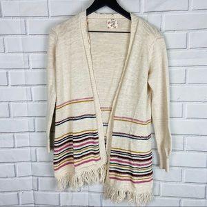 Hippie Rose open front cardigan sweater fringe S